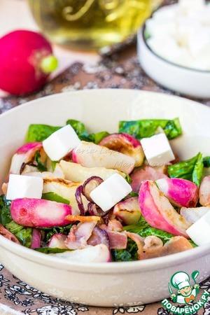 Рецепт Теплый салат с жареной редиской, беконом и шпинатом