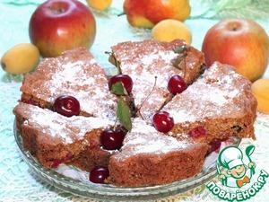 Рецепт Миндальный пирог с малиной и черникой