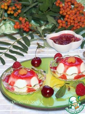 Рецепт Бланманже с малиновым соусом