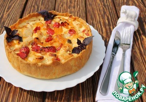 Рецепт Пирог с курицей, перцем и вялеными томатами
