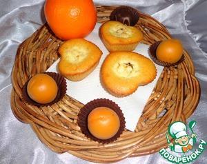 Рецепт Апельсиновые кексы с творожно-шоколадной начинкой