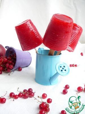 Рецепт Домашний фруктовый лед (сок персик/смородина)