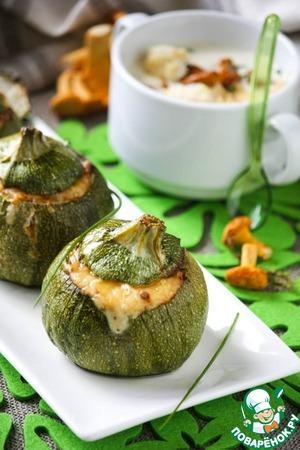 Рецепт Кабачки, запеченные с грибами и шелковистый крем-суп