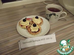 Рецепт Пирожные песочные корзиночки с масляным кремом и фруктами