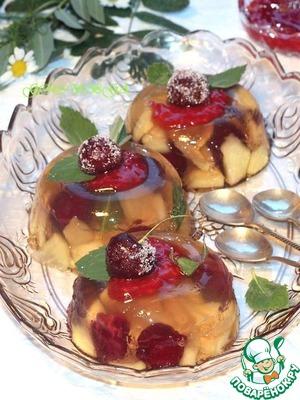 Рецепт Фруктовое желе из свежих яблок и вишен