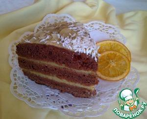 Рецепт Постный шоколадный торт с апельсиновым кремом