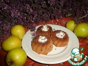 Рецепт Яблочно-грушевые кексы с творожной начинкой