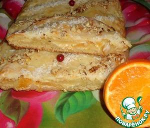 Рулетный пирог с творожно-медовой начинкой