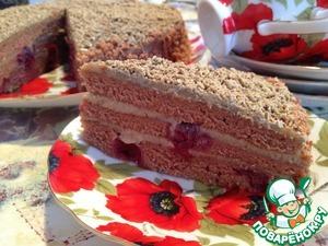 Рецепт Шоколадно-вишневый торт с халвой
