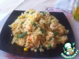 Рецепт Булгур с креветками и овощами