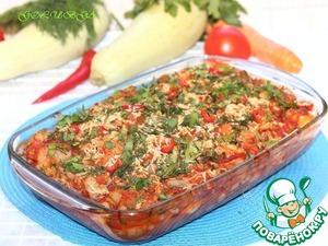 Рецепт Цветная капуста с курицей в томатно-овощном соусе