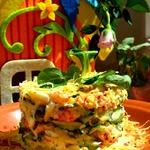 Летний салат с раковыми шейками