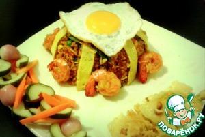 Рецепт Жареный рис по-индонезийски с креветками и овощами в уксусе (Nasi goreng)