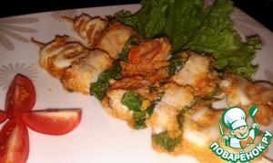 Рецепт Шашлык (кебаб) из морепродуктов в орехово-томатном соусе