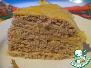 Рецепт Блинный пирог с фаршем