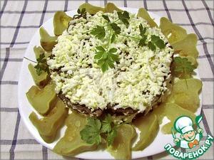 Рецепт Печёночный закусочный тортик с овощной начинкой и грибами