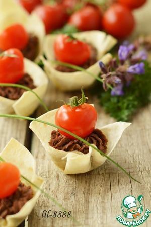 Рецепт Корзиночки из лаваша с печеночным паштетом
