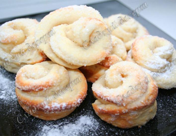 Рецепт: Творожное печенье Розочки