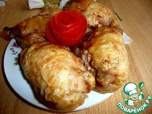 Рецепт Куриные окорочка фаршированные цветной капустой, запеченые в аэрогриле