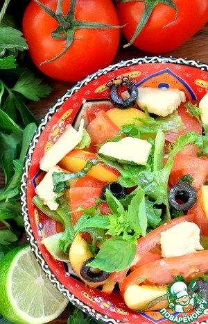 Рецепт Свежий овощной салат с нектаринами, помидорами и моцареллой