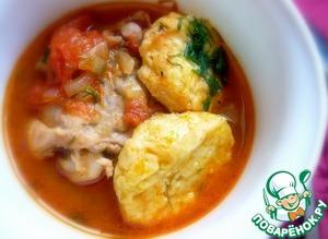 Рецепт Курица, тушенная с сырными клецками