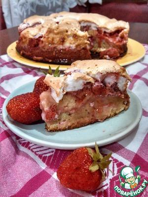 Рецепт Клубничный пирог под белковой шапкой