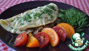 Рецепт Омлет с сыром зеленью и грибами