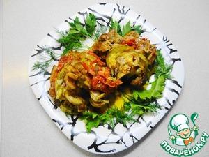Рецепт Гармошка из свинины с овощами (в мультиварке)