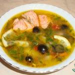 Овощной суп с форелью