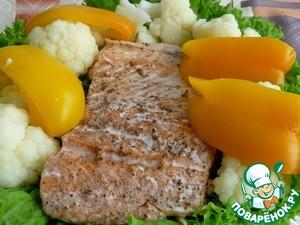 Рецепт Норвежская семга на пару с цветной капустой