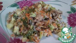 Рецепт Курица в сметане с овощами и гречкой