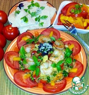 Рецепт Паэлья с курицей и тигровыми креветками