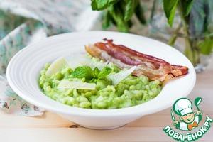 Рецепт Ризотто с зеленым горошком, мятой и беконом