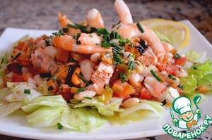 Рецепт Салат из морепродуктов и белой фасоли (Ensalada mariner de alubias blancas)