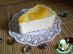 Рецепт Кокосовая запеканка-торт из творога с персиковым желе