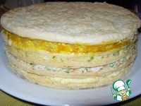 """Закусочный торт """"Наполеон"""" с ветчиной и сыром ингредиенты"""