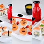 Суши-вечеринка для взрослых и детей-Хеллоуин темари суши, Неаполь маки и нигири с креветкой