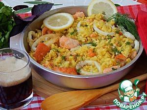 Рецепт Паэлья на пиве с лососем и кальмарами