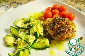 Рецепт Курица, запеченная с тимьяном, лимоном и помидорами, с салатом из цуккини