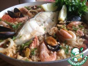 Рецепт: Паэлья с зубаткой и морепродуктами