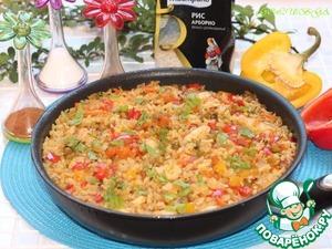 Рецепт Паэлья с курицей, перцем и зеленым горошком
