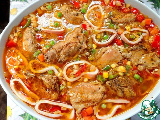 паэлья с курицей и морепродуктами рецепт