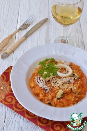 Рецепт Ризотто томатное с морепродуктами и сыром в мультиварке