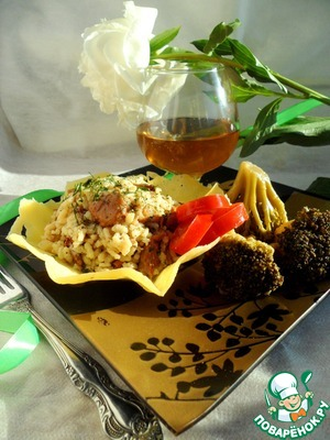 Рецепт Ризотто с лисичками в сырной корзиночке