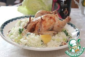 Рецепт Цыпленок и ароматный рис со шпинатом и савойской капустой