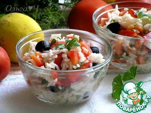Рецепт Теплый салат с рисом по-средиземноморски