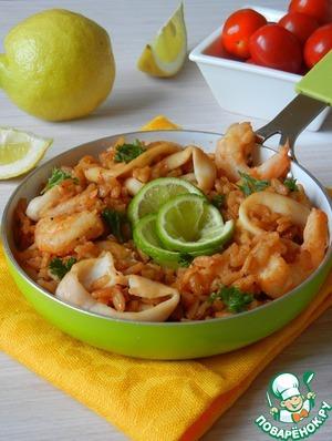 Рецепт Паэлья с кальмарами и креветками