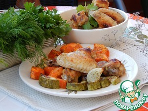 Рецепт Крылышки куриные с овощами