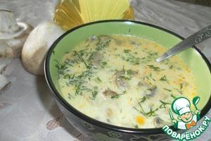 Рецепт Сырный суп с шампиньонами и курицей