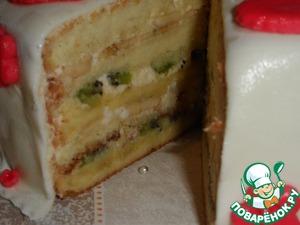 Рецепт Бисквитный тортик с киви и бананами